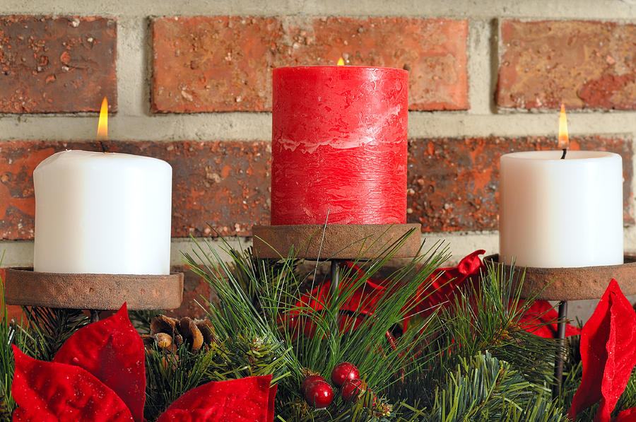 Christmas Photograph - Three Christmas Candles by Kenneth Sponsler