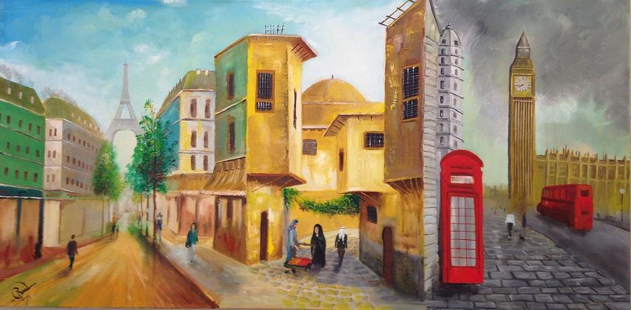 Paris Painting - Three Cities by Rami Besancon