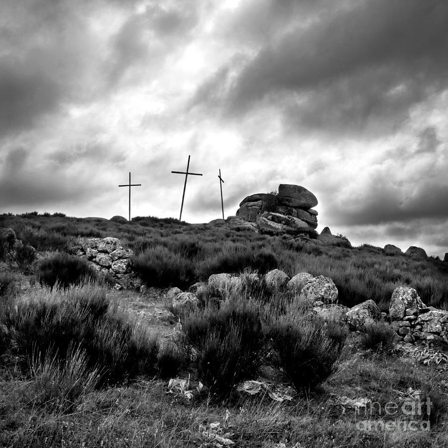 Outdoors Photograph - Three Crosses by Bernard Jaubert
