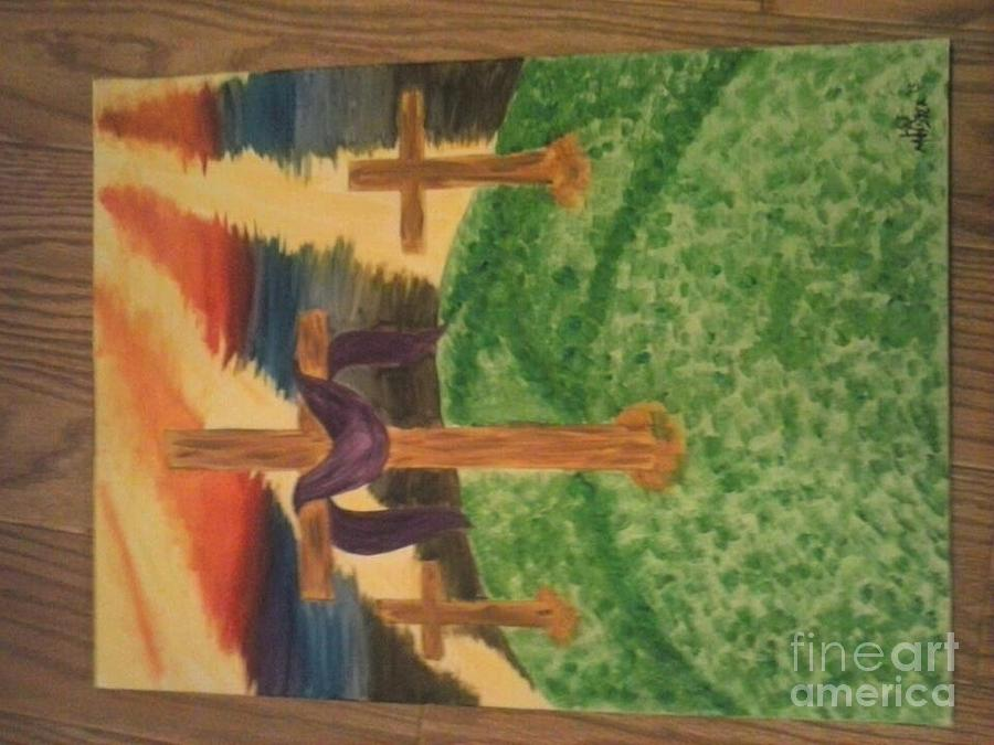 Crosses Painting - Three Crosses  by Kae Mangan