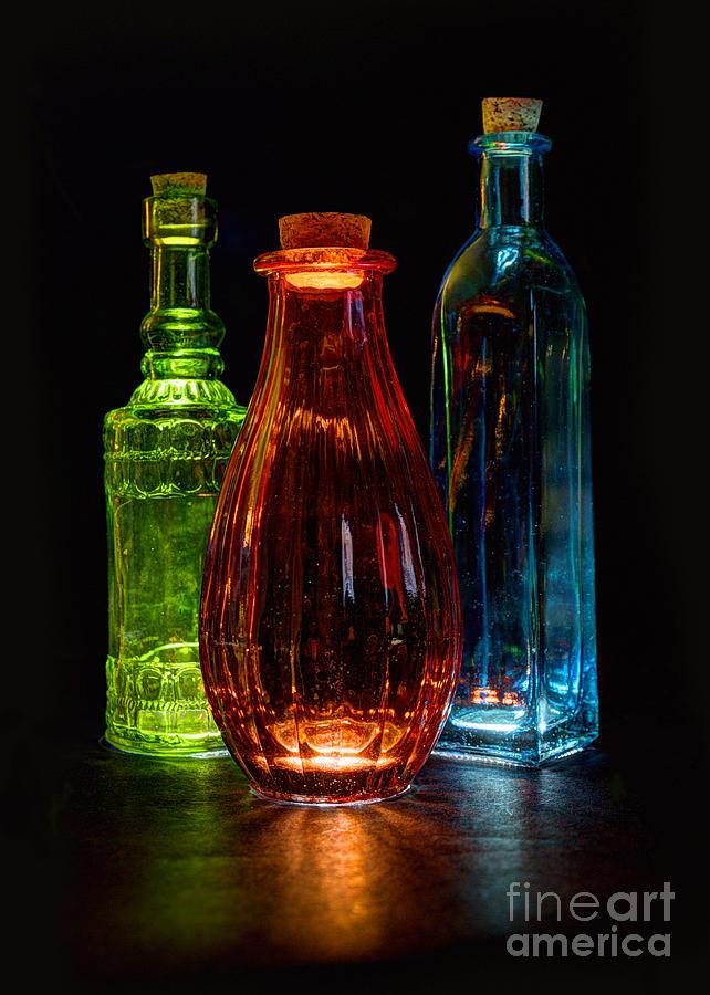 Black Background Photograph - Three Decorative Bottles by ELDavis Photography
