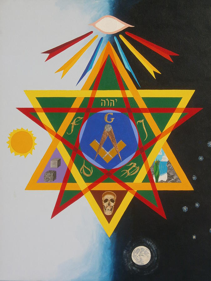 Masonic Painting - Three Degrees by Adrien Barlow