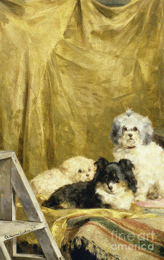 Trumpet Painting - Three Dogs by Charles van den Eycken