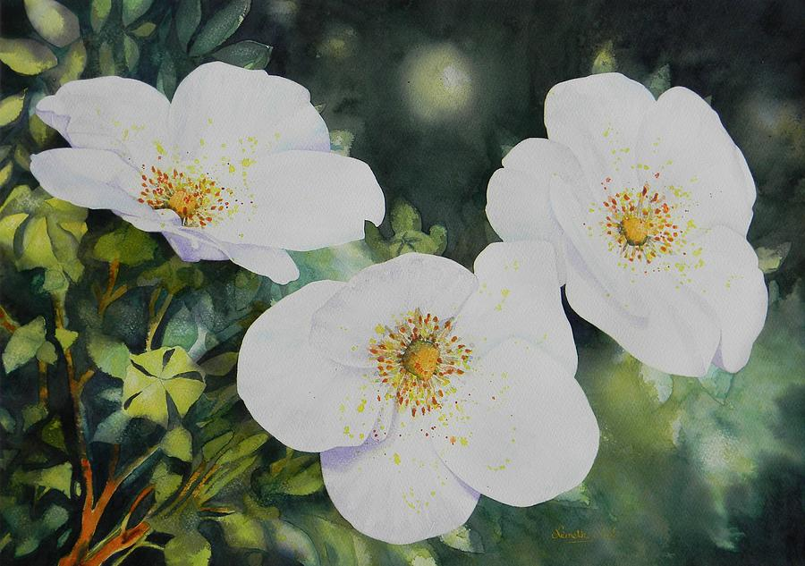 Flower Painting - Three Dressed In White by Adel Nemeth