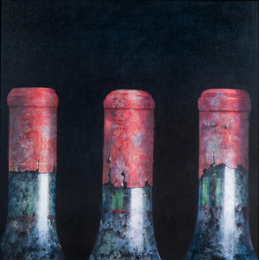 Dust; Dusty; Claret; Clarets; Red Wine; Wine; Wine Bottle; Bottle; Bottles; Wine Painting - Three Dusty Clarets by Lincoln Seligman