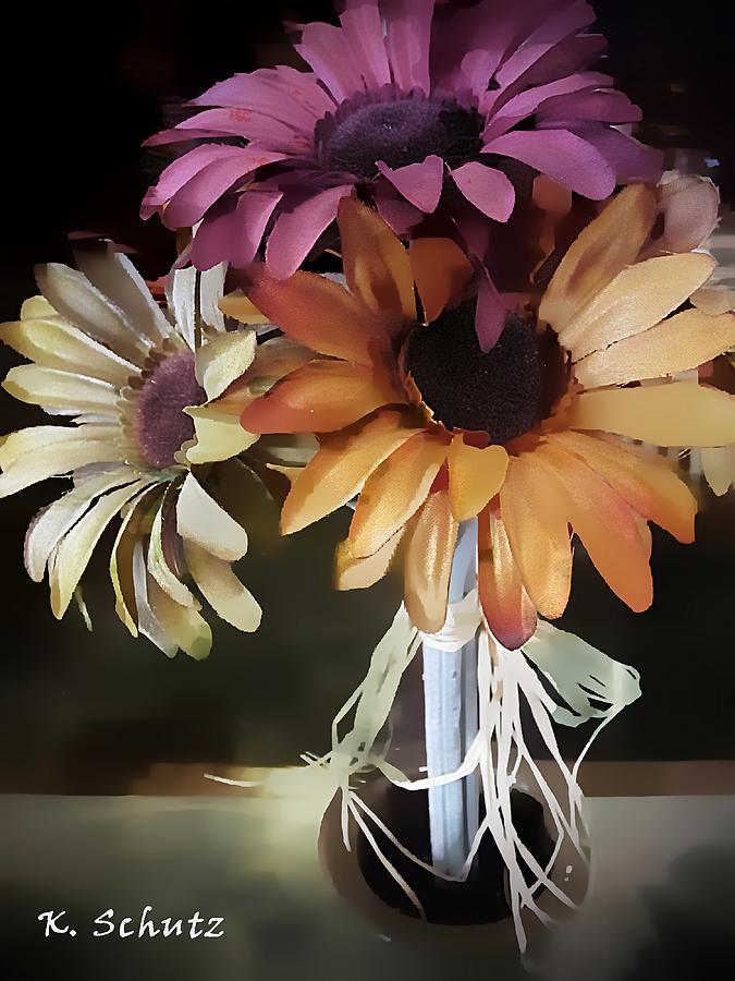 Flowers Digital Art - Three Flowers by Kelly Schutz