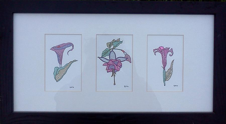 Three Flowers Drawing