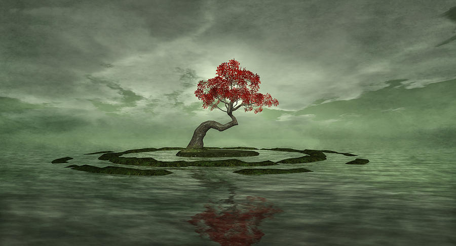 Cherry Tree Digital Art - Three For My Heartache by Whiskey Monday