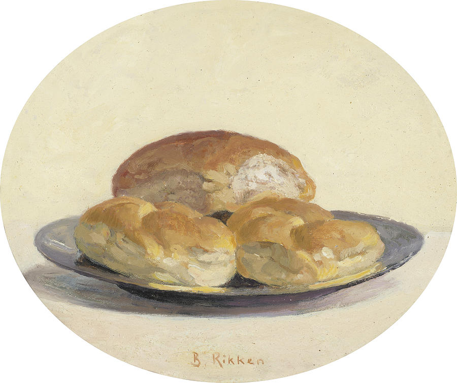 Food Painting - Three French  rolls on an iron plate by Ben Rikken