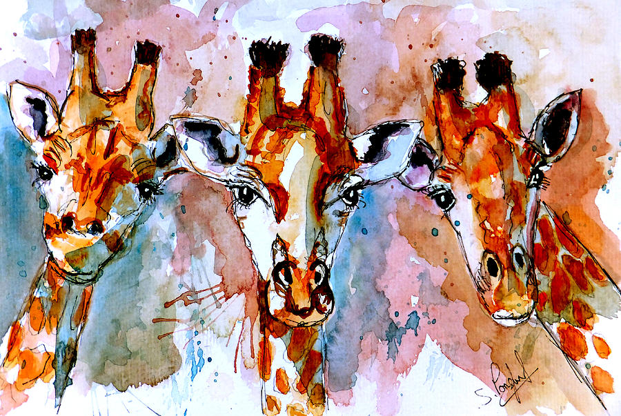Giraffe Painting - Three Friends by Steven Ponsford