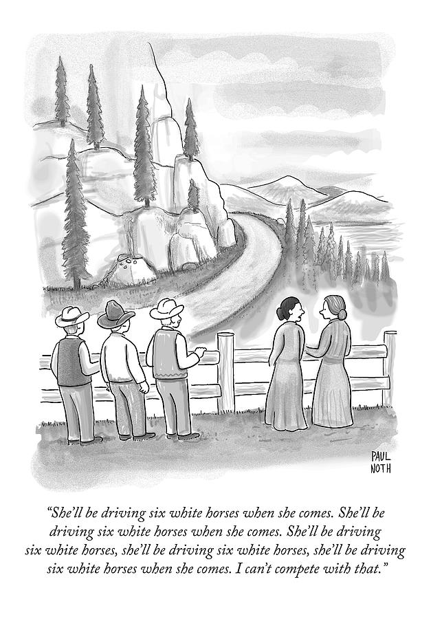 Three Frontiersmen And Two Women Watch A Mountain Drawing by Paul Noth
