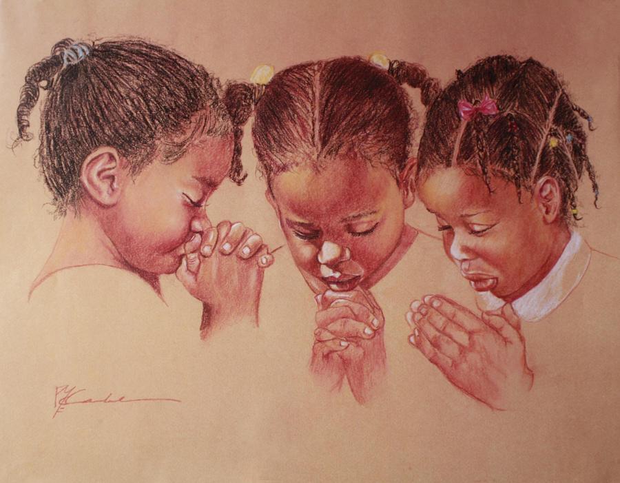 three girls praying by Pamela Mccabe