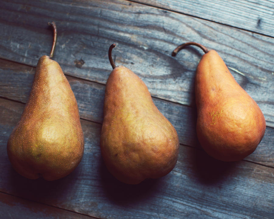 Food Photograph Photograph - Three Gold Pears by Lupen  Grainne