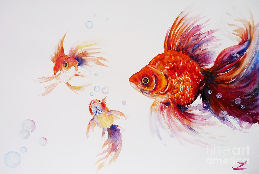 Three Goldfish Painting by Zaira Dzhaubaeva