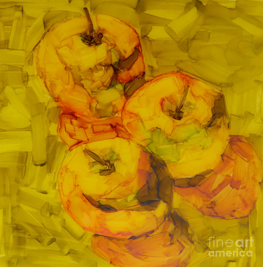 Three Green Apples Modern Art Drawing
