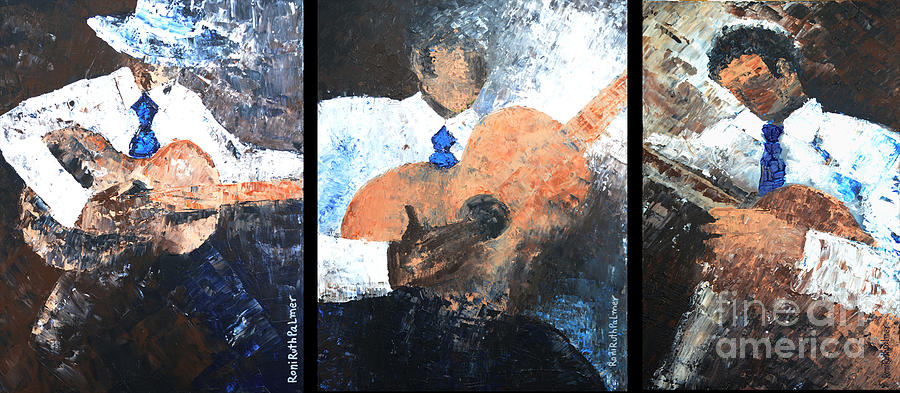 Music Painting - Three Guitar Players by Roni Ruth Palmer