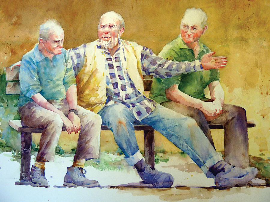 Figures Painting - Three Guys On A Bench by Janet Flom