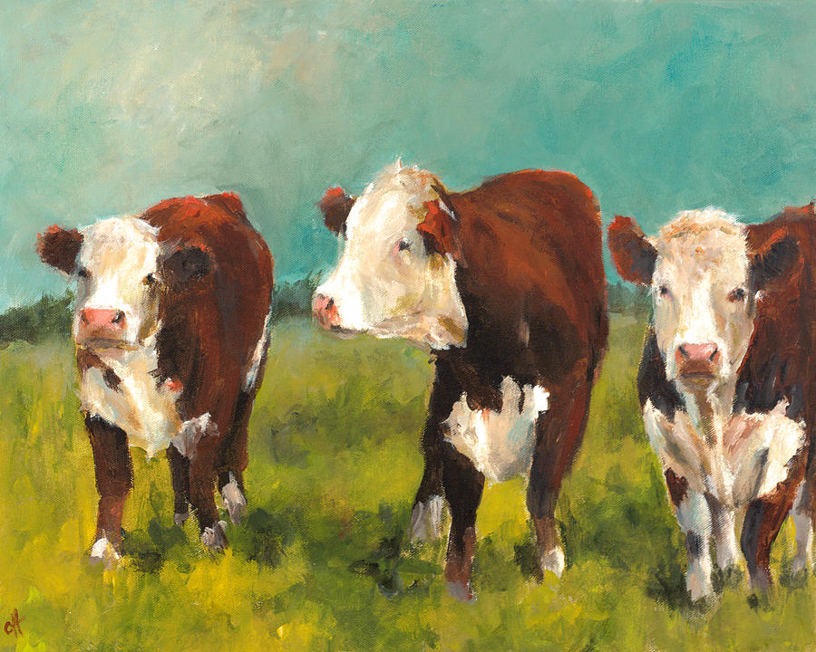 Herefords Painting - Three Herefords by Cari Humphry