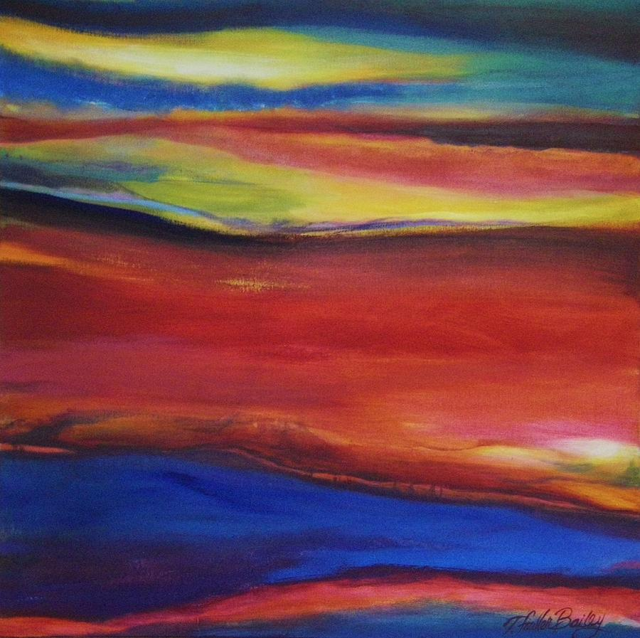 Abstract Painting - Three Horizons Sold Prints Available by Therese Fowler-Bailey