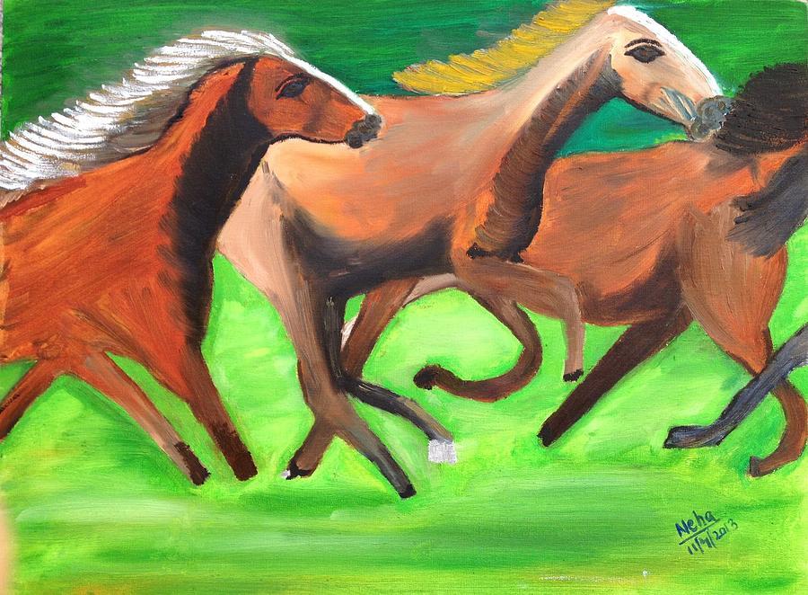 Painting - Three Horses by Neha  Shah