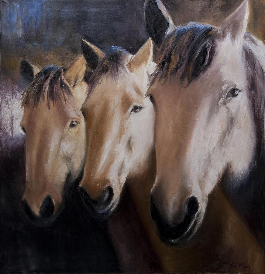 Horse Artwork Painting - Three Horses by Terri  Meyer
