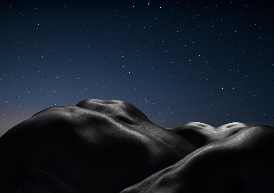 Three Human Naked Bodies Against Starry Photograph by Jonathan Knowles