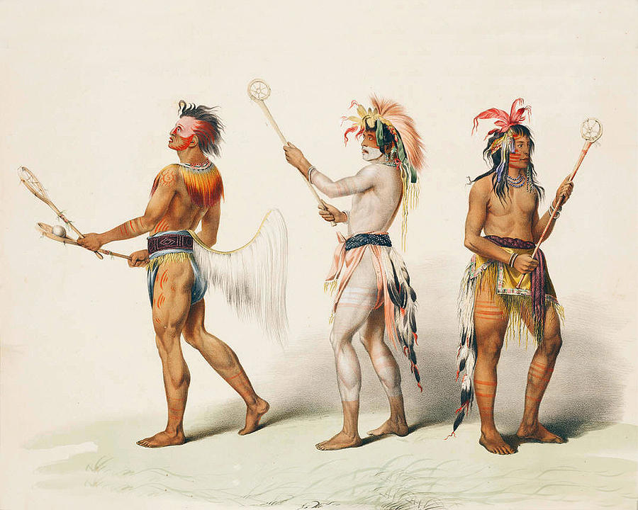 Lacrosse Digital Art - Three Indians Playing Lacrosse by Unknown