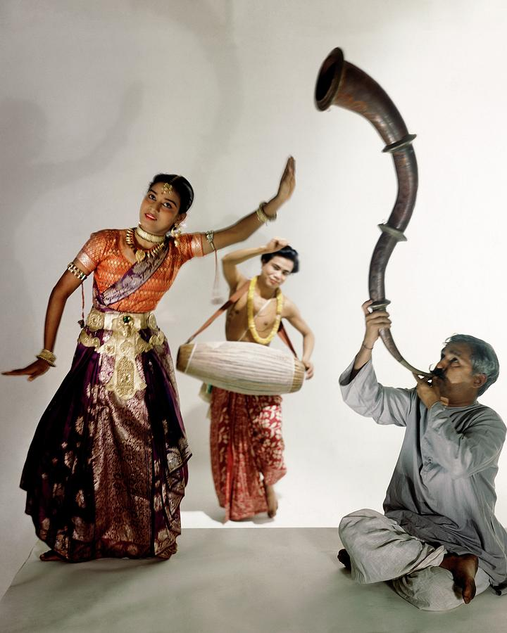 Three Indians Playing Music And Dancing Photograph by Horst P. Horst
