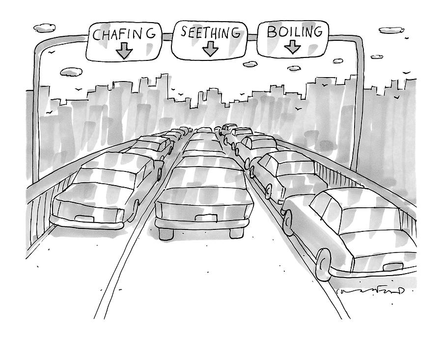Three Jammed Traffic Lanes On A Bridge Have Signs Drawing by Michael Crawford