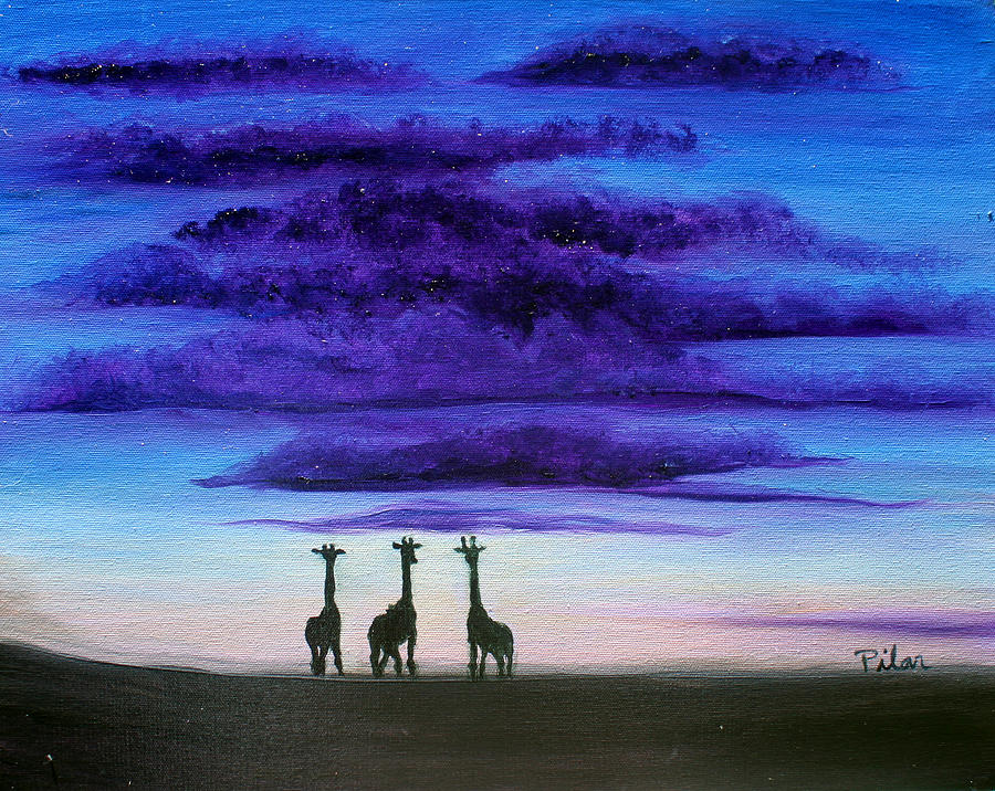 Africa Painting - Three Jiraffes by Pilar  Martinez-Byrne
