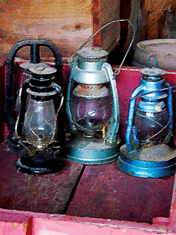 Lamp Photograph - Three Kerosene Lamps by Susan Savad