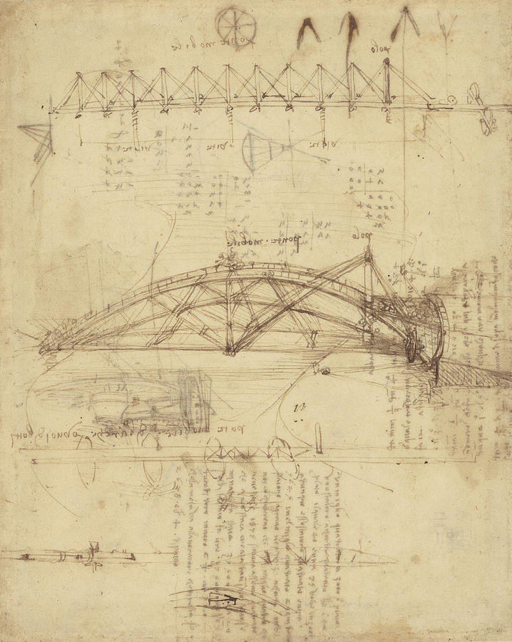 Leonardo Drawing - Three Kinds Of Movable Bridge by Leonardo Da Vinci