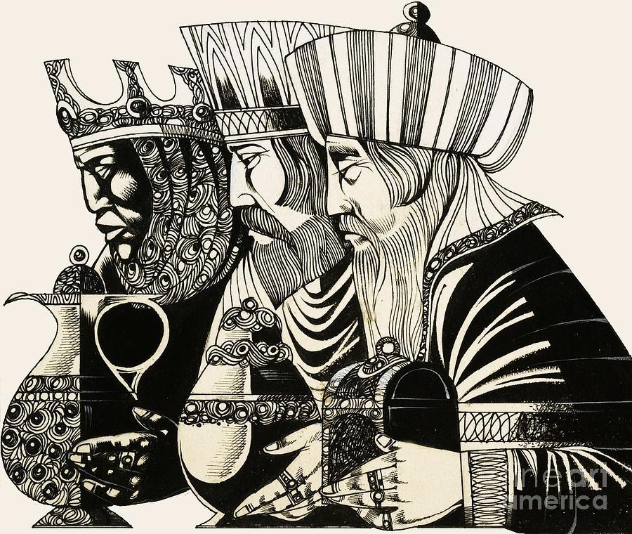 Christmas; Epiphany; Wise Men; Kings; Three Kings; Adoration Of The Magi; Gold; Frankincense; Myrrh; Jesus Christ; Birth; Christ; Religion; Christianity; Three Wise Men; Nativity Drawing - Three Kings by Richard Hook