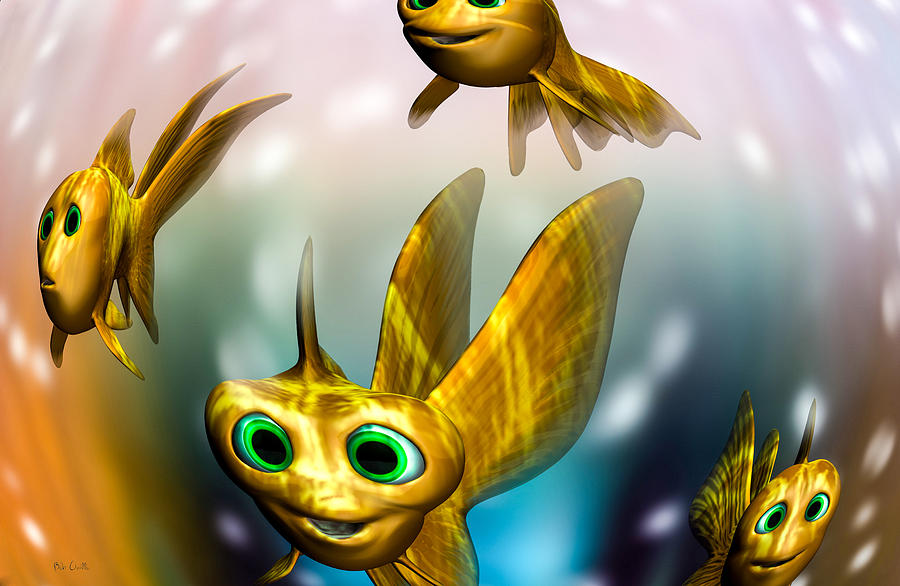 Three Little Fishies And A Mama Fishie Too Digital Art - Three Little Fishies And A Mama Fishie Too by Bob Orsillo