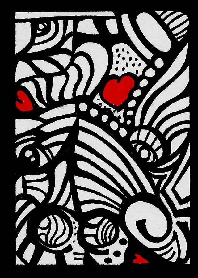 Harts Drawing - Three Little Hearts  by Carrie Stewart