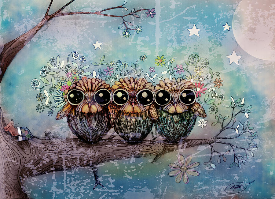 Owls Painting - Three Little Night Owls by Karin Taylor