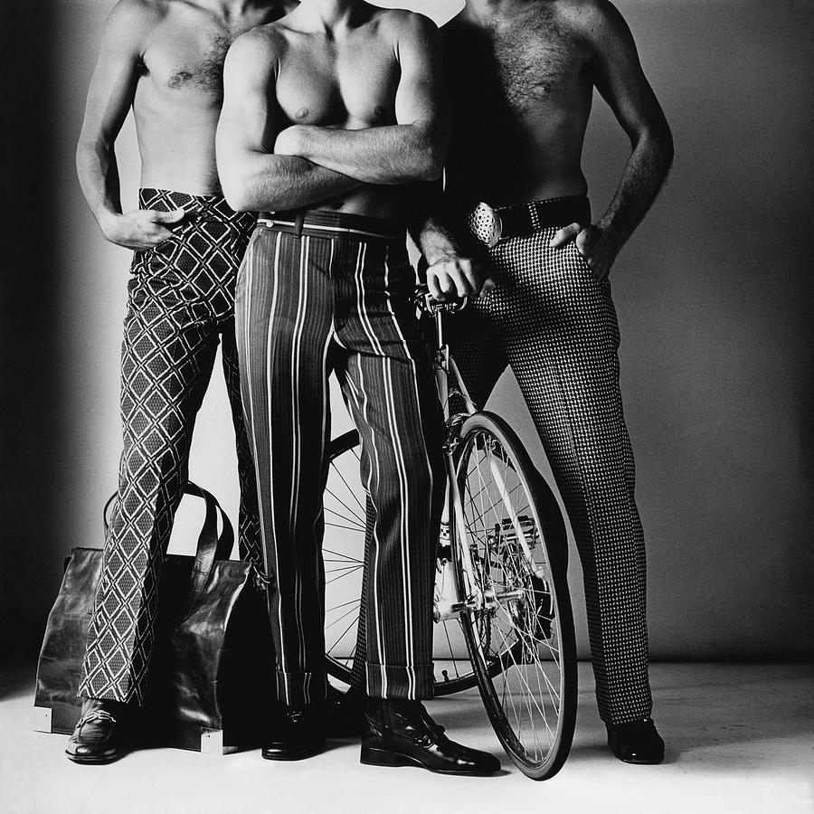Three Male Models Wearing Patterned Trousers Photograph by Ken Haak