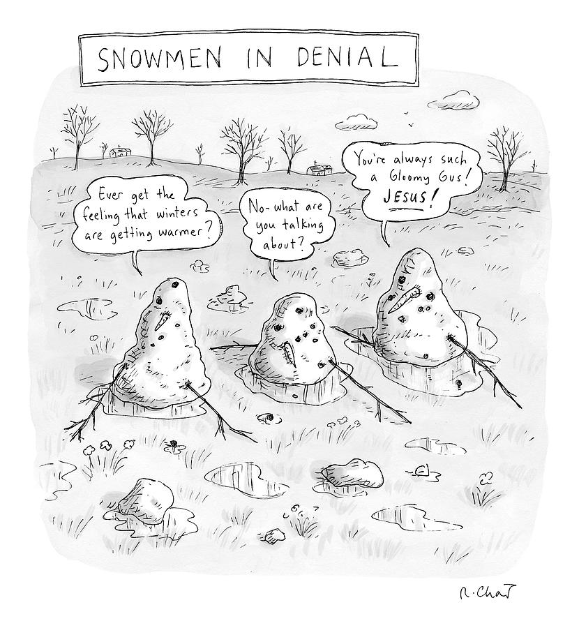 Three Melting Snowmen Are In Denial Drawing by Roz Chast