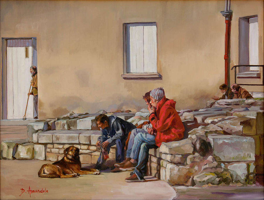 Dog Painting - Three Men With A Dog by Dominique Amendola