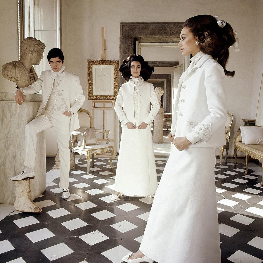 Three Models Wearing Clothing By Valentino Photograph by Henry Clarke