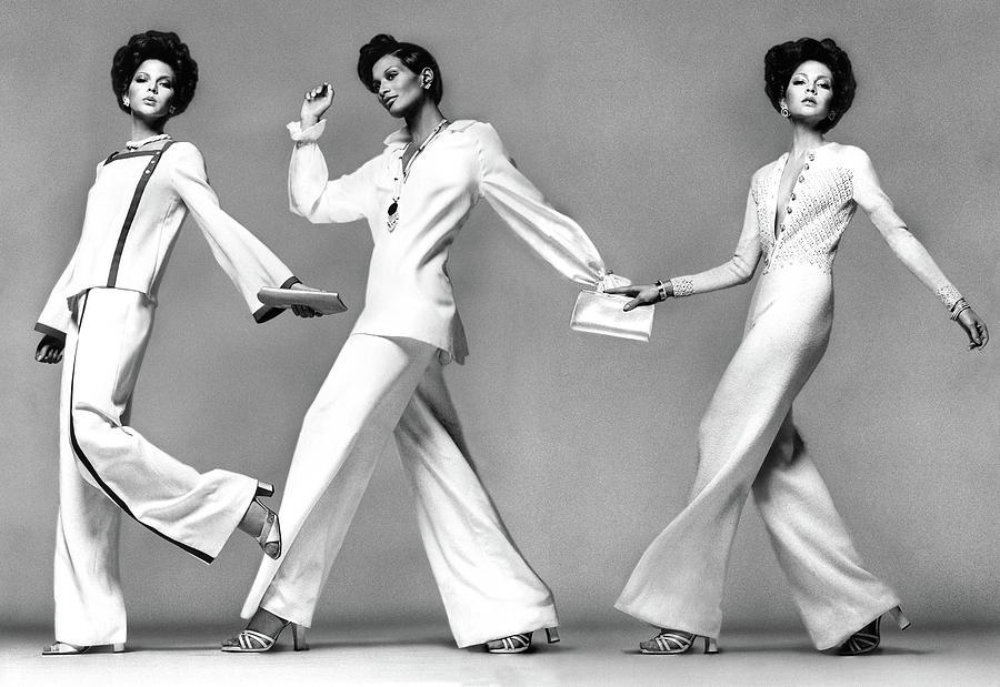 Three Models Wearing Evening Pajamas Photograph by Francesco Scavullo