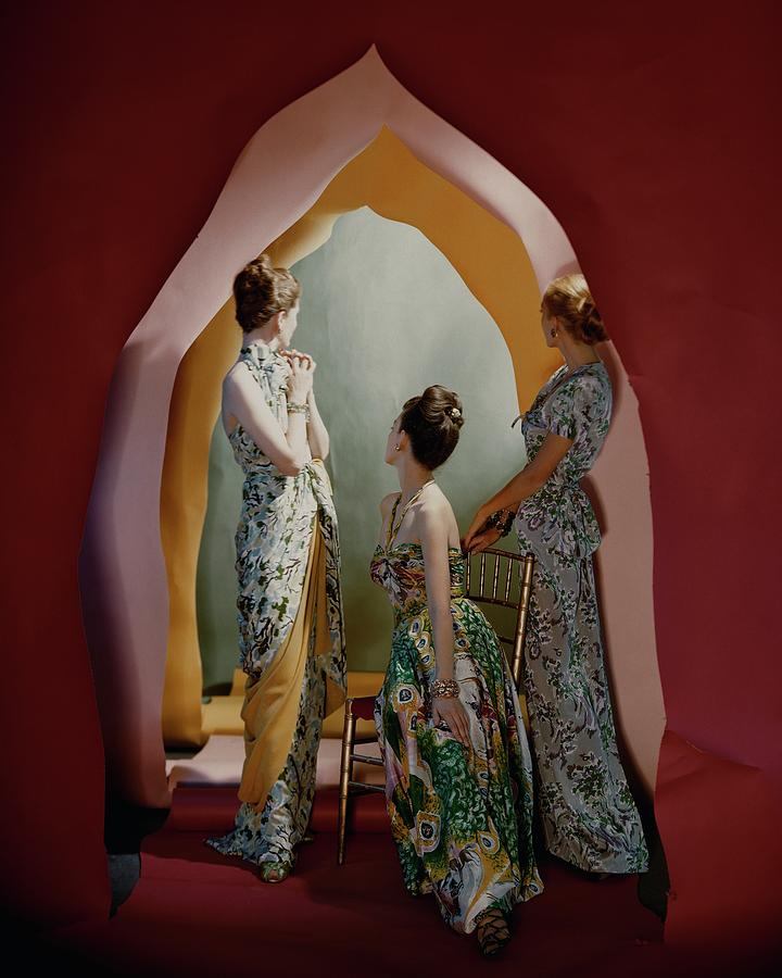 Three Models Wearing Patterned Dresses Photograph by Cecil Beaton