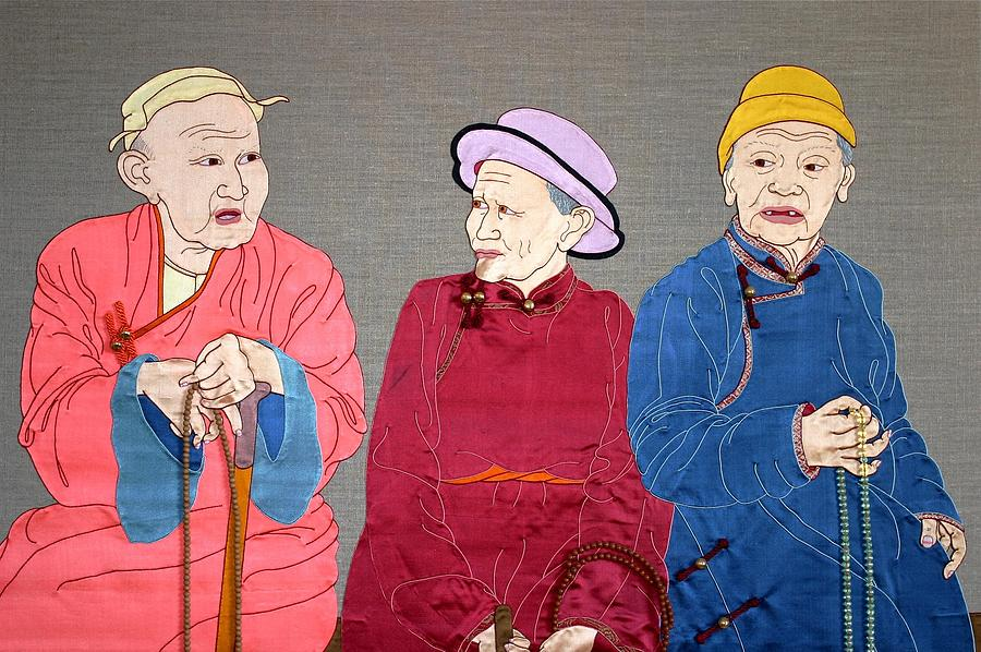 Textile Mixed Media - Three Mongolians by Leslie Rinchen-Wongmo