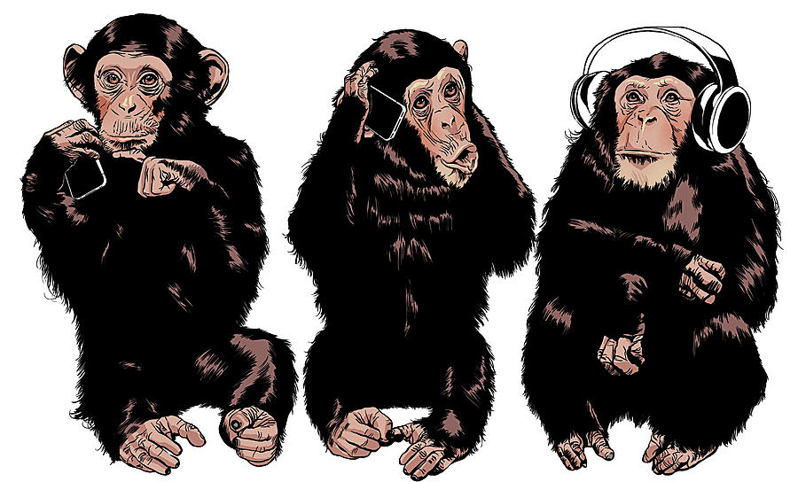 Three Monkeys See No Evil, Hear No Digital Art by Mart Klein
