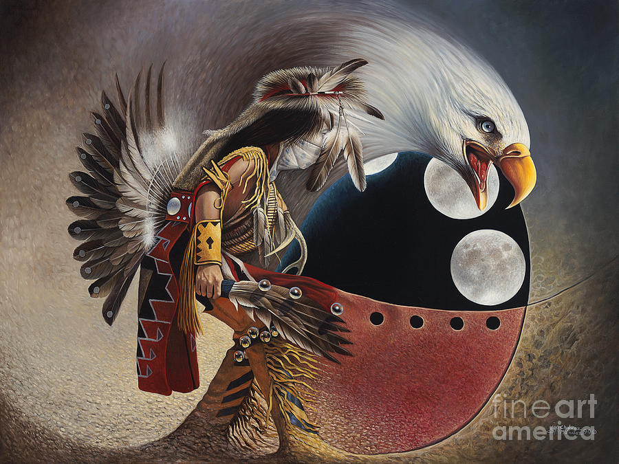 Native-american Painting - Three Moon Eagle by Ricardo Chavez-Mendez
