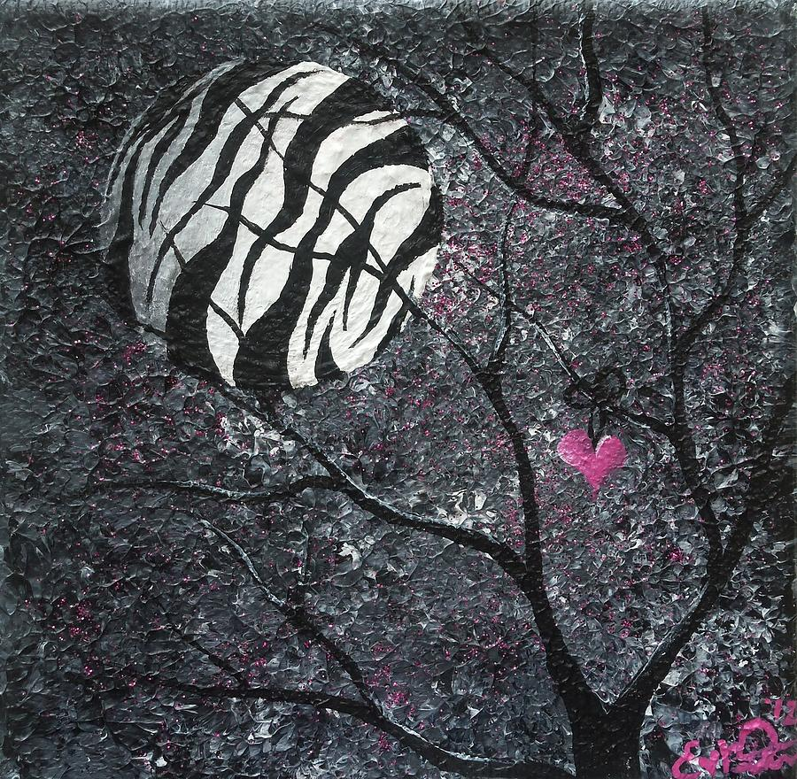 Surreal Painting - Three Moons Series - Zebra Moon by Oddball Art Co by Lizzy Love