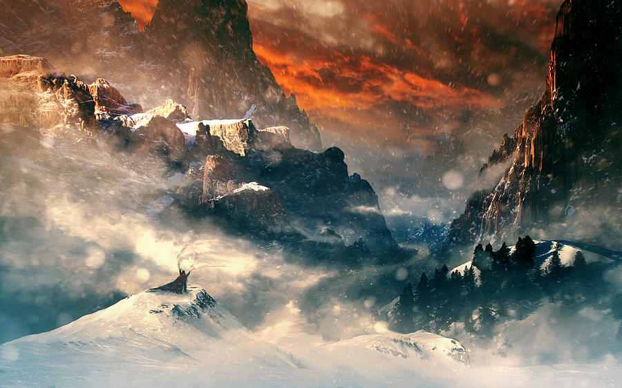 Mountain Digital Art - Three Mountains by Tobias Roetsch