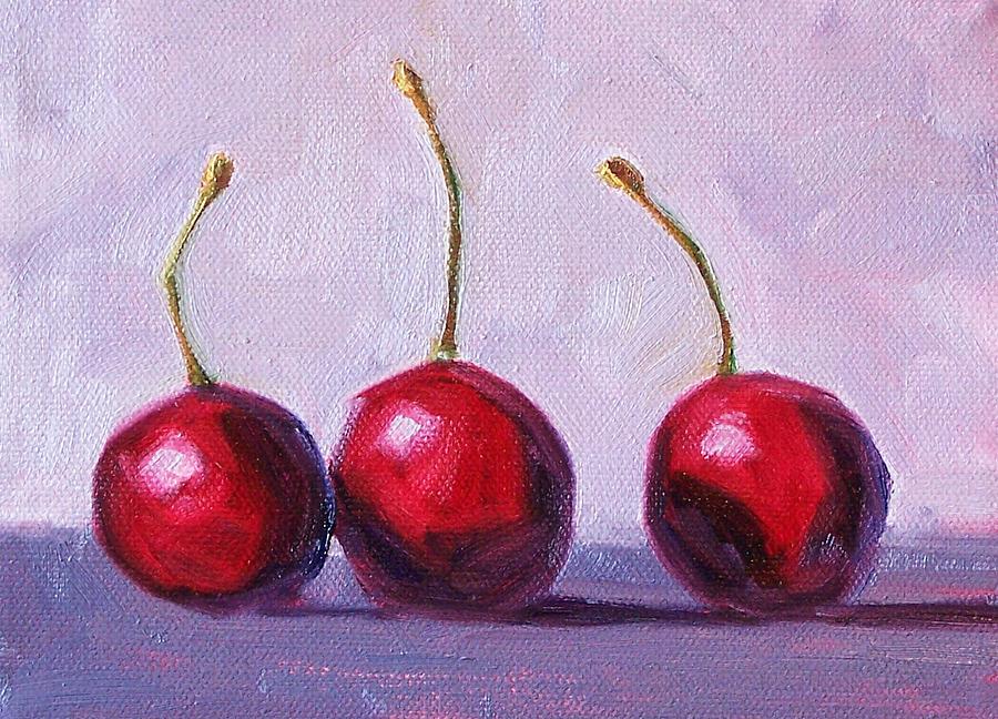 Cherries Painting - Three by Nancy Merkle