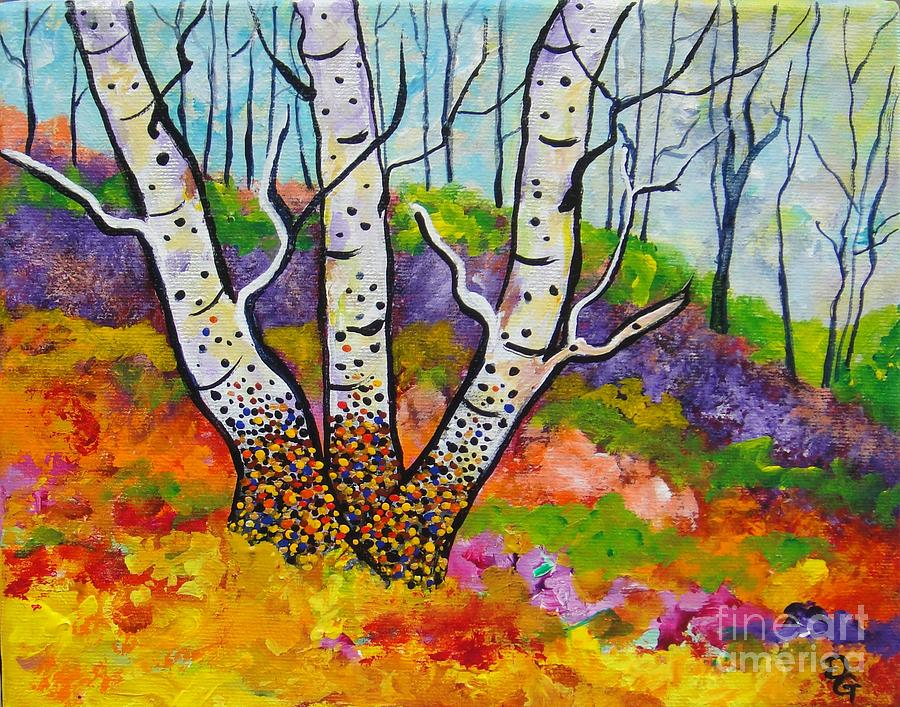 Birch Tree Painting - Three Of A Kind by Deborah Glasgow