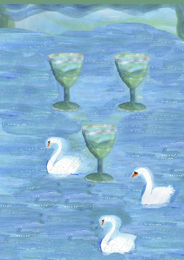 Tarot Painting - Three Of Cups by Sushila Burgess